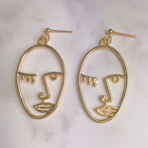 New! Abstract Human Face Dangle Earrings Gold